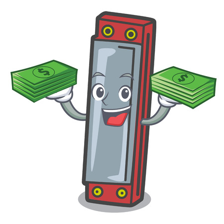 With money harmonica mascot cartoon style vector illustration Ilustracja