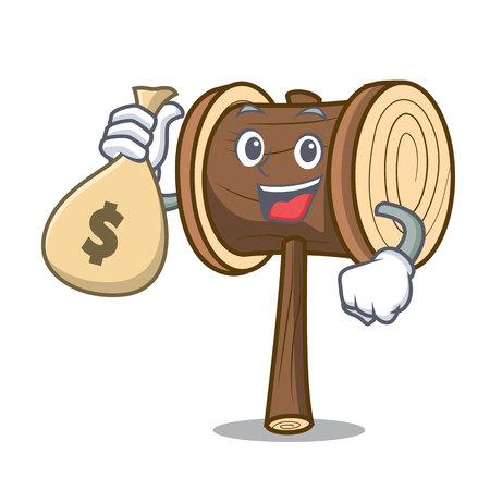 Avec de l'argent sac maillet personnage cartoon style vector illustration