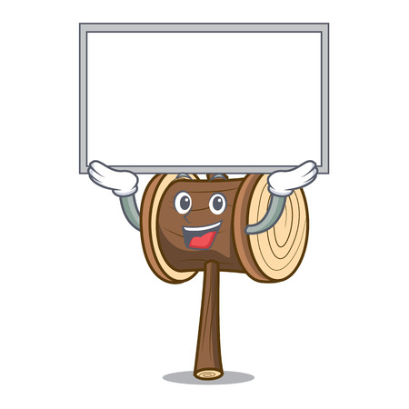 Up board mallet character cartoon style vector illustration