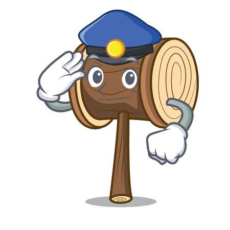 Police mallet character cartoon style vector illustration Illusztráció