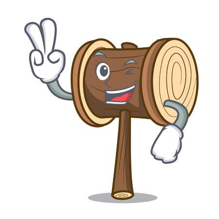 Two finger mallet character cartoon style vector illustration Illusztráció