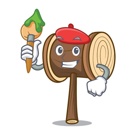 Artist mallet character cartoon style vector illustration Illusztráció