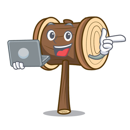 With laptop mallet character cartoon style vector illustration