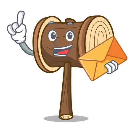 With envelope mallet character cartoon style vector illustration