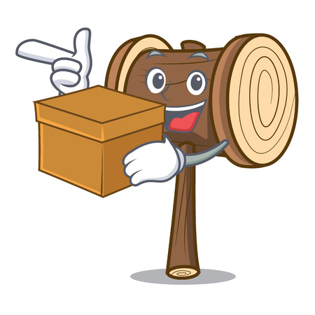 With box mallet character cartoon style vector illustration