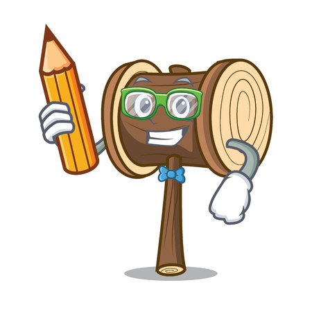 Student mallet character cartoon style vector illustration