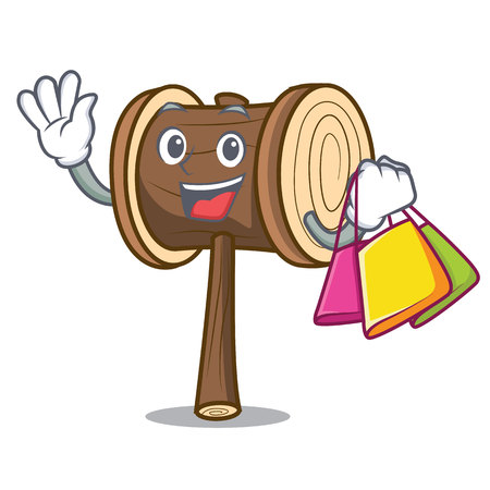 Shopping mallet character cartoon style vector illustration