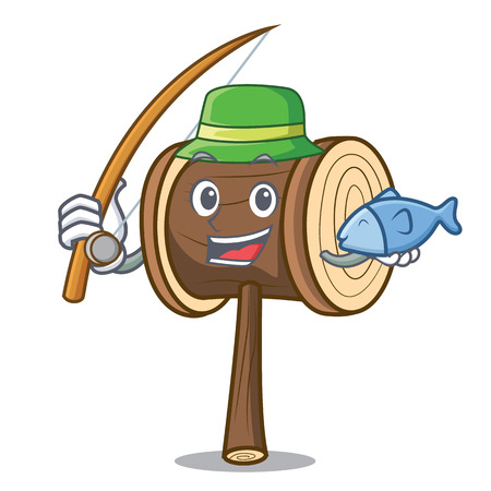 Fishing mallet mascot cartoon style vector illustration