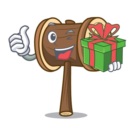 With gift mallet mascot cartoon style vector illustration