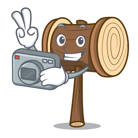 Photographer mallet mascot cartoon style vector illustration