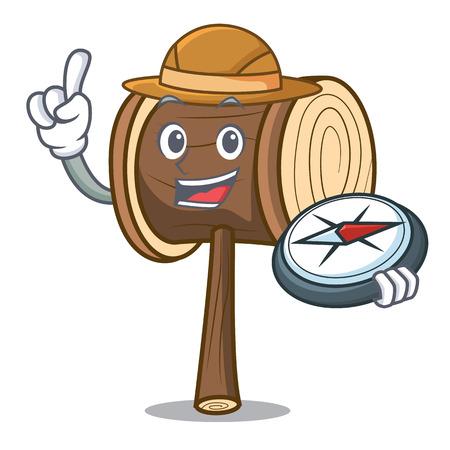 Explorer mallet mascot cartoon style vector illustration Illusztráció