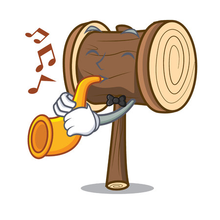 With trumpet mallet mascot cartoon style vector illustration  イラスト・ベクター素材