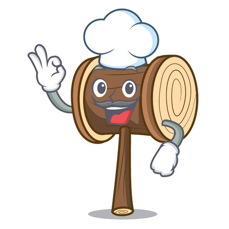 Chef mallet character cartoon style vector illustration