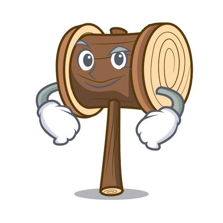 Smirking mallet character cartoon style vector illustration