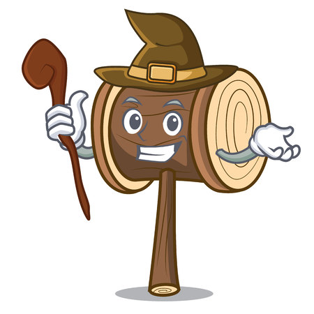 Witch mallet mascot cartoon style vector illustration