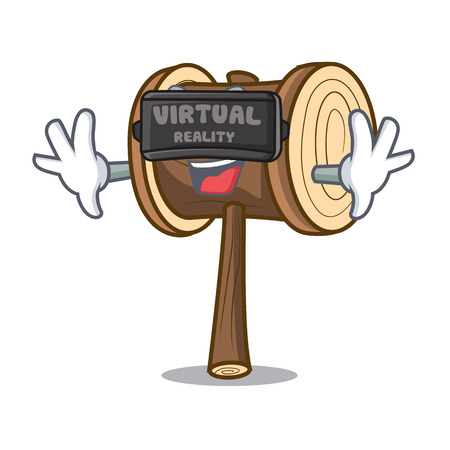 Virtual reality mallet mascot cartoon style vector illustration