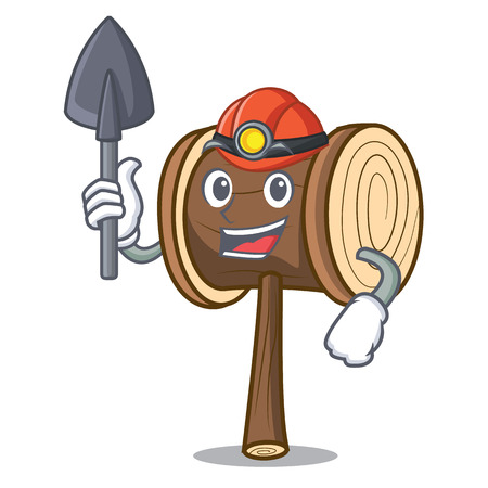 Miner mallet mascot cartoon style vector illustration