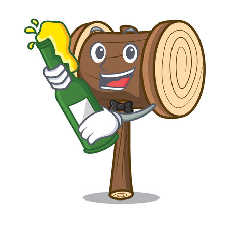 With beer mallet mascot cartoon style