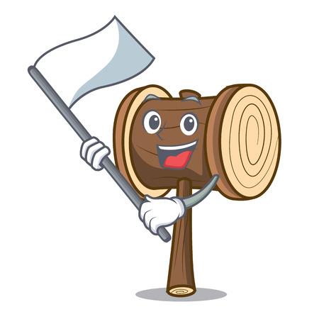 With flag mallet mascot cartoon style vector illustration Illusztráció
