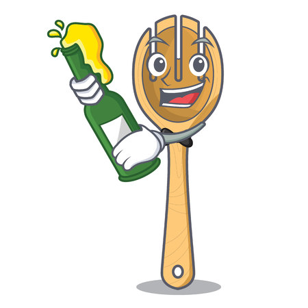 With beer wooden fork mascot cartoon vector illustration