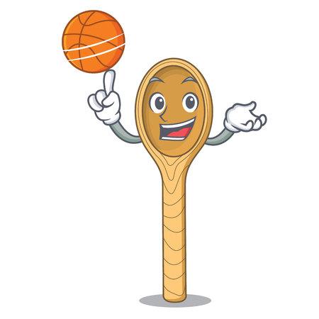 Mit Basketball-Holzlöffel-Charakter-Cartoon-Vektor-Illustration