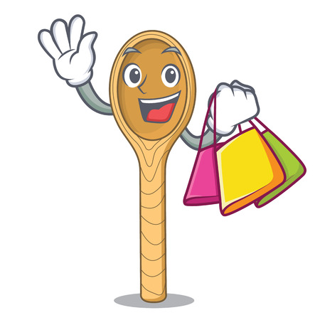 Shopping wooden spoon character cartoon vector illustration