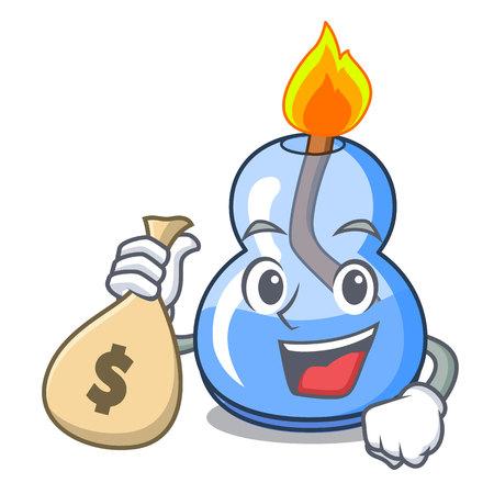 With money bag alcohol burner character cartoon vector illustration