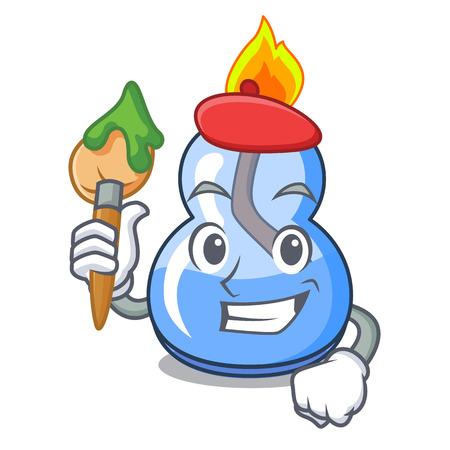 Artist alcohol burner character cartoon vector illustration