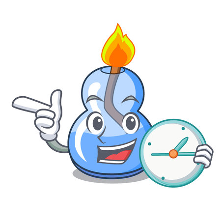 With clock alcohol burner character cartoon vector illustration Vettoriali