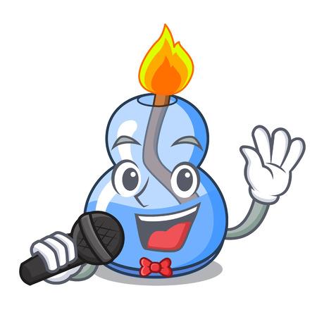Singing alcohol burner mascot cartoon vector illustration