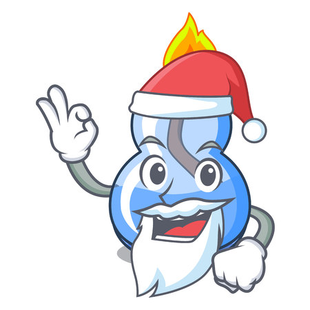 Santa alcohol burner mascot cartoon vector illustration