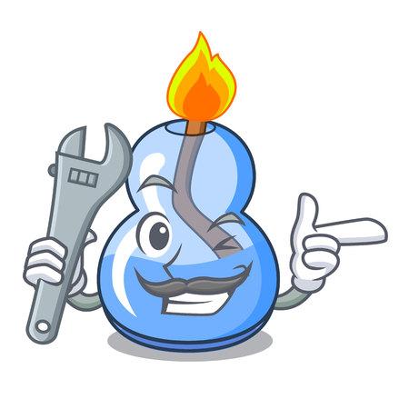 Mechanic alcohol burner mascot cartoon vector illustration 스톡 콘텐츠 - 112085233
