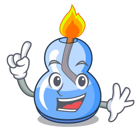 Finger alcohol burner mascot cartoon vector illustration