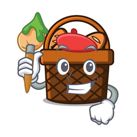 Artist bread basket character cartoon vector illustration