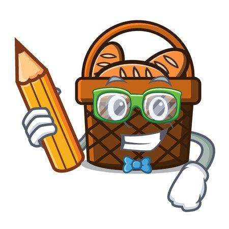 Student bread basket character cartoon vector illustration