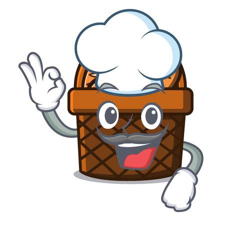 Chef bread basket character cartoon vector illustration