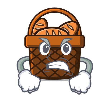 Angry bread basket mascot cartoon vector illustration Illustration