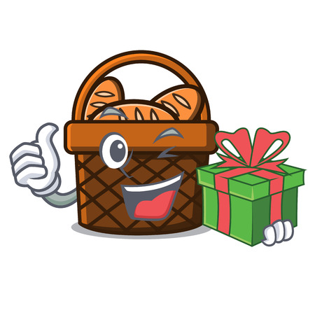With gift bread basket mascot cartoon vector illustration