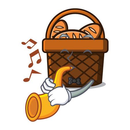 With trumpet bread basket mascot cartoon vector illustration