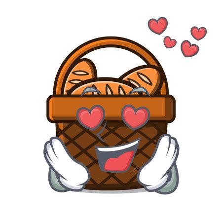 In love bread basket mascot cartoon vector illustration