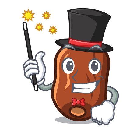 Magician dates fruit mascot cartoon