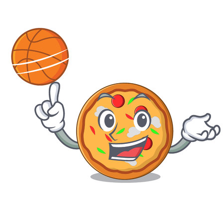 With basketball pizza character cartoon style vector illustration