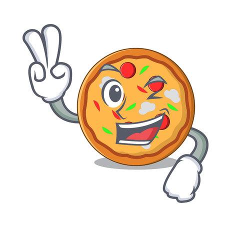 Two finger pizza character cartoon style vector illustration Stock Illustratie