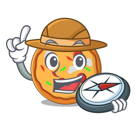 Explorer pizza mascot cartoon style