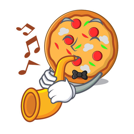 With trumpet pizza mascot cartoon style