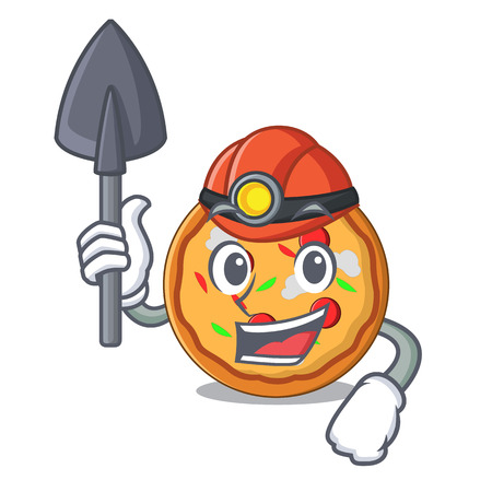 Miner pizza mascot cartoon style Illustration