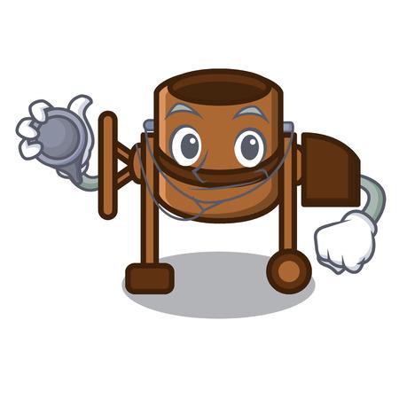 Doctor concrete mixer character cartoon vector illustration Çizim