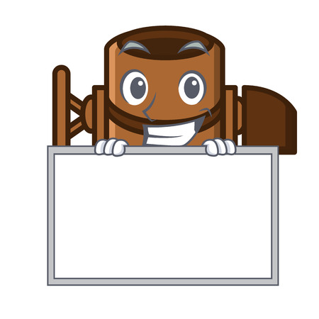 Grinning with board concrete mixer character cartoon vector illustration