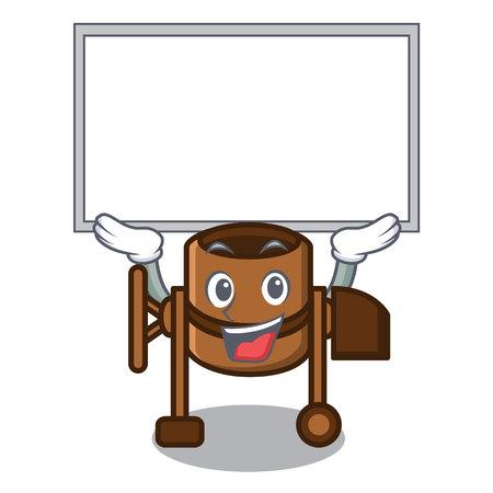 Up board concrete mixer character cartoon vector illustration