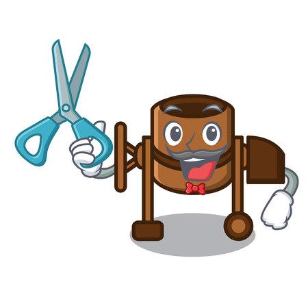 Barber concrete mixer character cartoon vector illustration Çizim